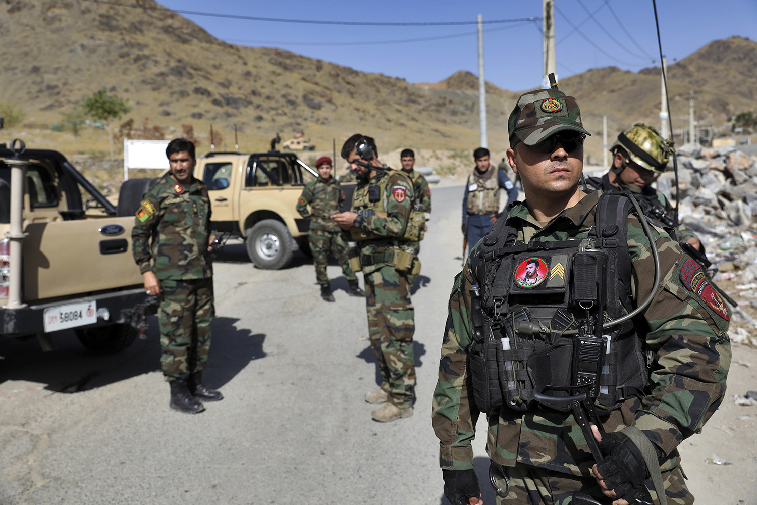 Afghan special forces stand guard at the site of a suicide car bomb explosion that killed at least four people, on the outskirts of Kabul, Afghanistan, Thursday, Sept. 12, 2019. (Ebrahim Noroozi/AP)