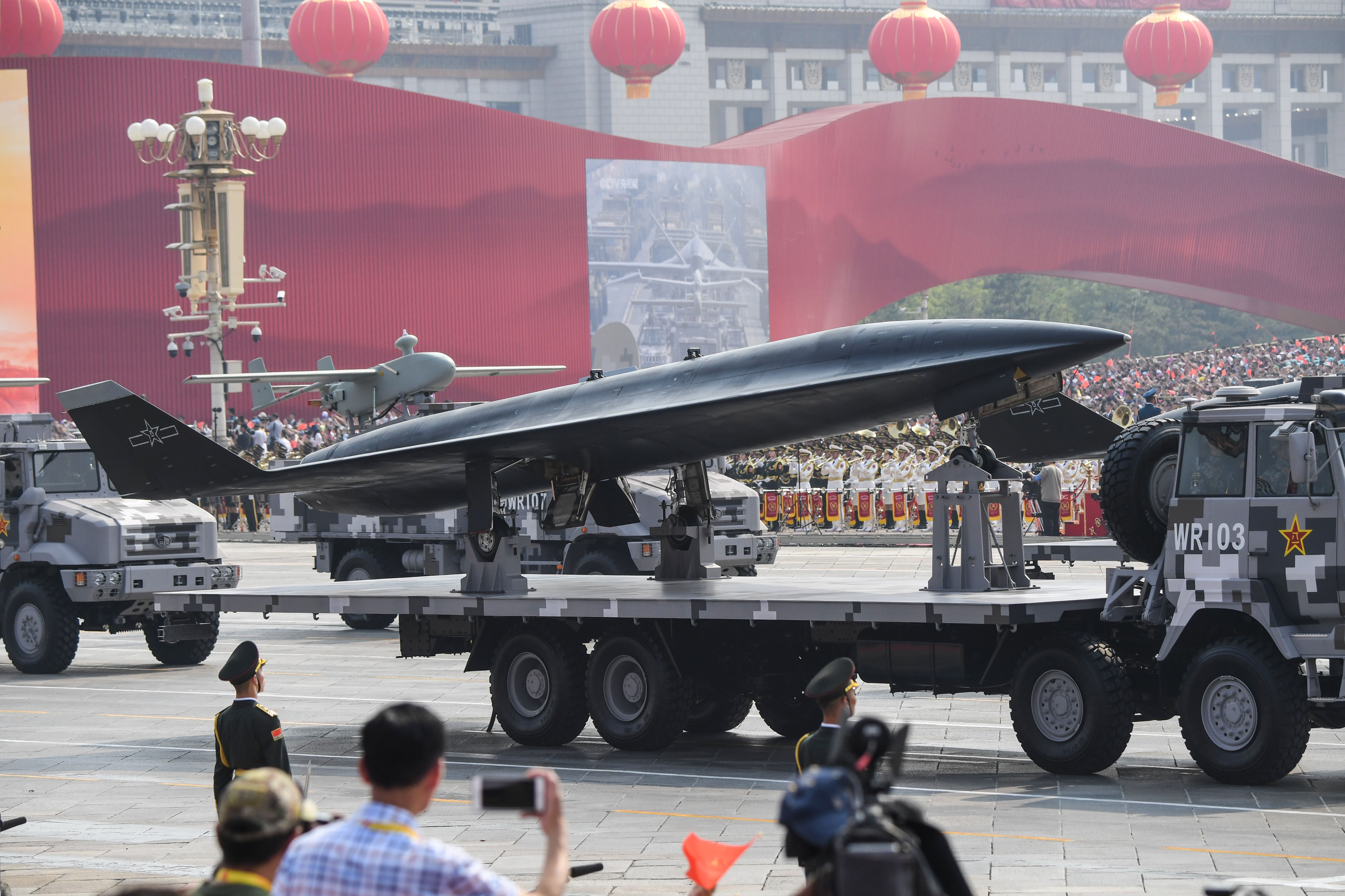 The WZ-8 made its debut at the parade. It's believed to be a high-speed platform capable of attaining supersonic flight. (Greg Baker/AFP via Getty Images)