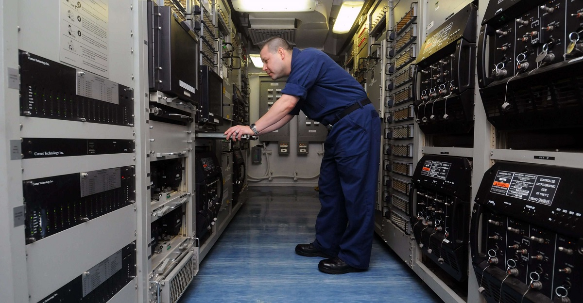 General Dynamics' Digital Modular Radio provides multiple waveforms and multilevel information security for voice and data communications. (U.S. Navy)