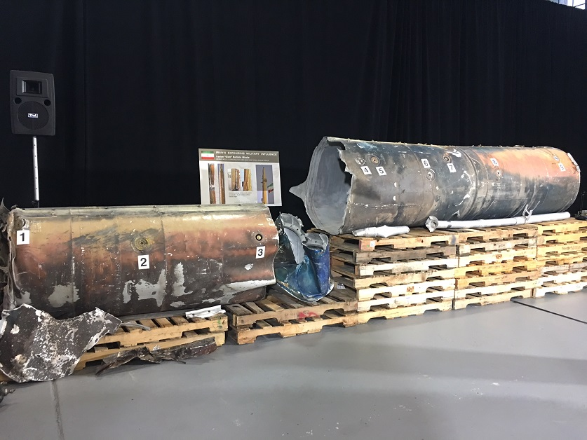 The components of the Scud-class 37-foot-long ballistic missiles that targeted King Khalid International Airport on Nov. 4 and Yanbu, Saudi Arabia, on July 22 were reassembled and assessed by U.S. intelligence. The Defense Intelligence Agency concluded that both were Iranian Qiam short-range ballistic missiles. Some of the wear on the missiles analyzed by U.S. intelligence, including evidence that the missiles have been welded back together, supported their assessment that at least the Nov. 4 missile had been cut in half to more easily transport into Yemen. (Tara Copp/Military Times)