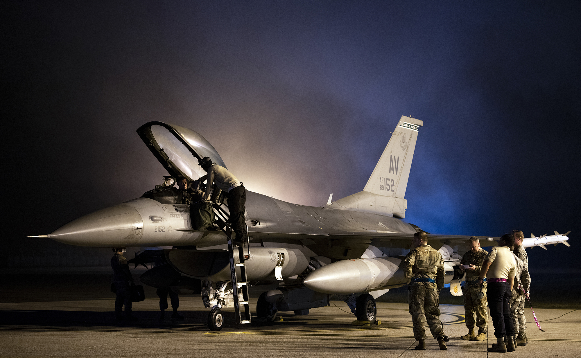 Airmen prepare a 555th Fighter Squadron F-16 Fighting Falcon for takeoff from Aviano Air Base, Italy, Oct. 28, 2019. (Airman 1st Class Caleb House/Air Force)