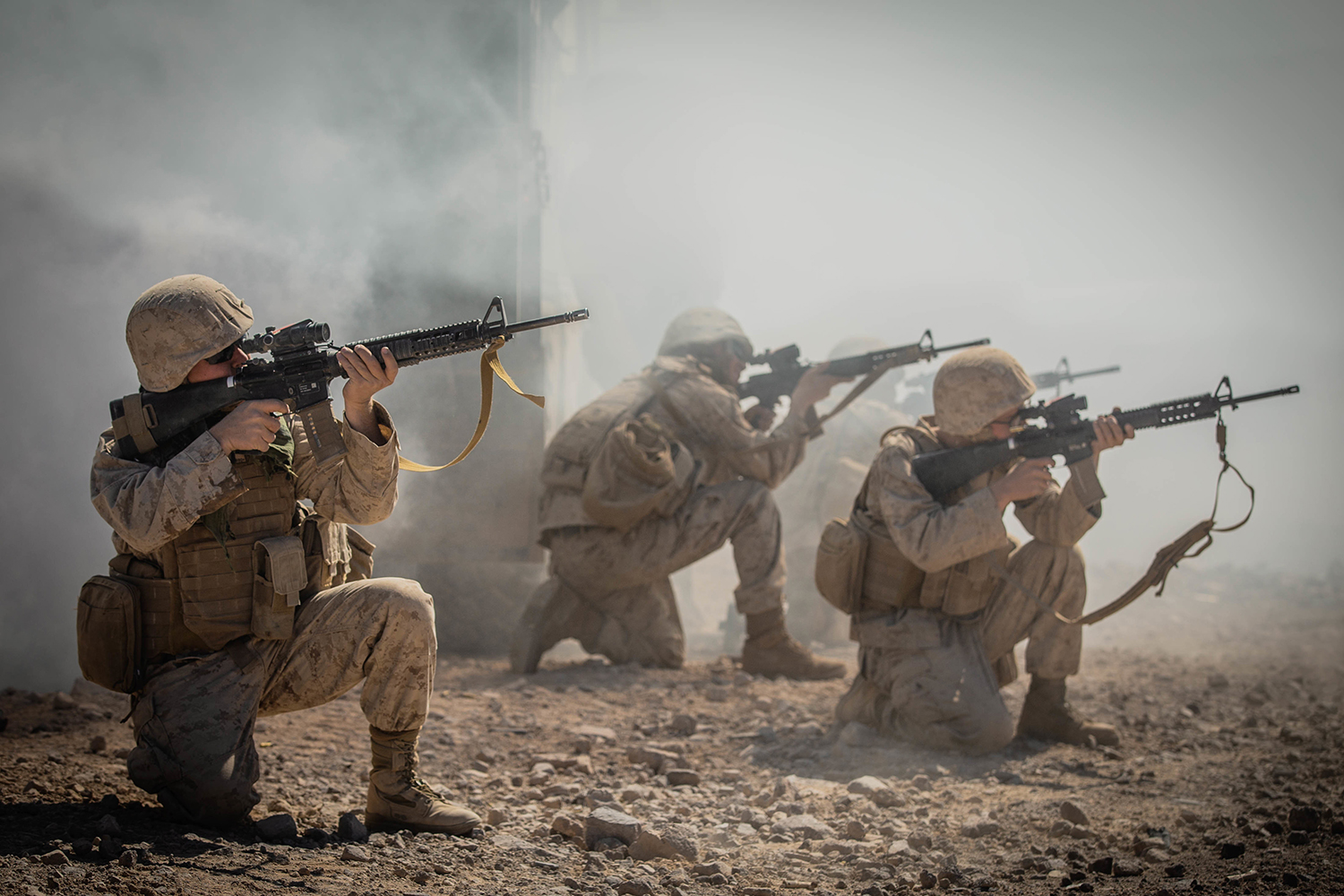 Marines fire M16A4 service rifles during the advance motorized operators course as part of Integrated Training Exercise 1-20 on Marine Corps Air Ground Combat Center Twentynine Palms, Calif., Oct. 11, 2019. (Cpl. Scott Jenkins/Marine Corps)