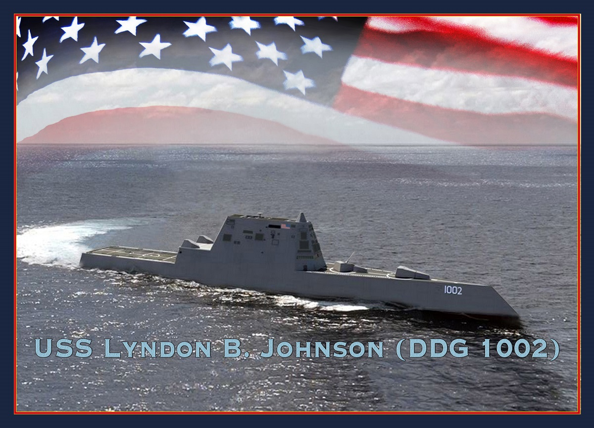 A Navy rendering of the future destroyer Lyndon B. Johnson, the last of the three-ship Zumwalt class of stealth destroyers. (U.S. Navy)