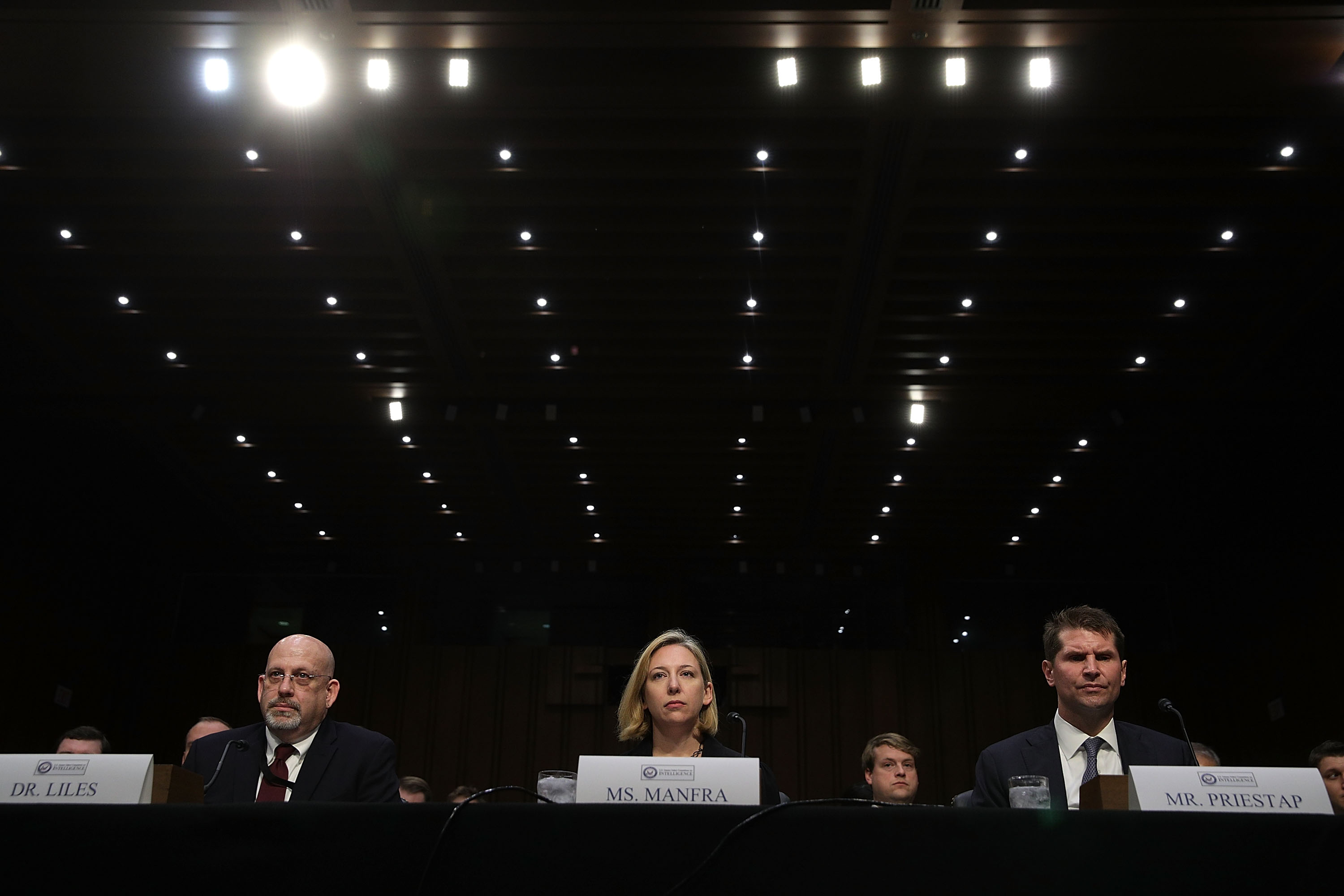 Jeanette Manfa (middle), at top cybersecurity official at the Department of Homeland Security, is leaving. (Alex Wong/Getty Images)