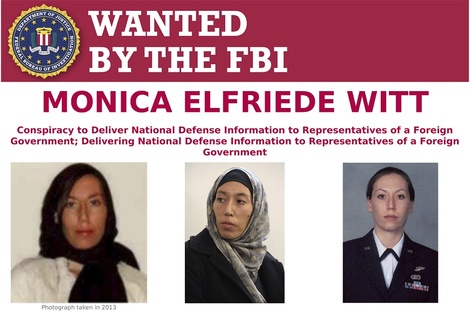 This image provided by the FBI shows part of the wanted poster for Monica Elfriede Witt. The former U.S. Air Force counterintelligence specialist who defected to Iran despite warnings from the FBI has been charged with revealing classified information to the Tehran government, including the code name and secret mission of a Pentagon program, prosecutors said Wednesday. (FBI via AP)
