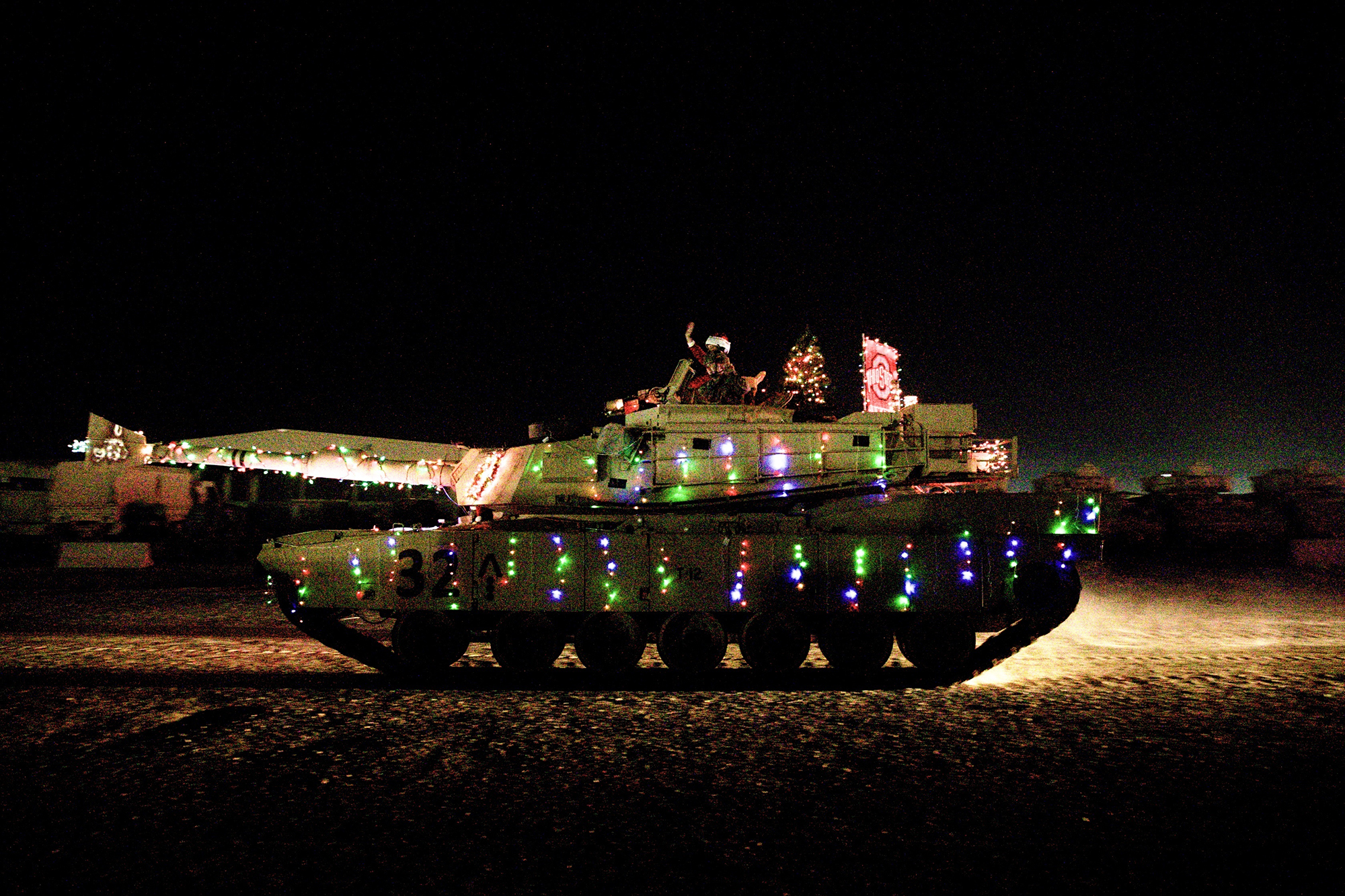 The 30th Armored Brigade Combat Team holiday parade on Dec. 24, 2019, in Kuwait. (Sgt. Devin Lewis/Army)