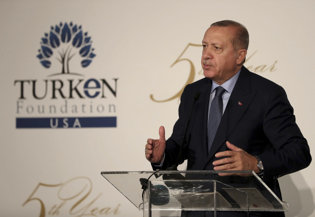 Turkey's President Recep Tayyip Erdogan addresses Turks living in United States during a speech Sept. 24, 2018, in New York. (Presidential Press Service via AP pool)