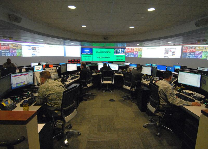 Shown here is the Defense Information Systems Agency command center at Fort Meade, Md., Feb. 6, 2013. (DoD photo by John Kandrac/Released)