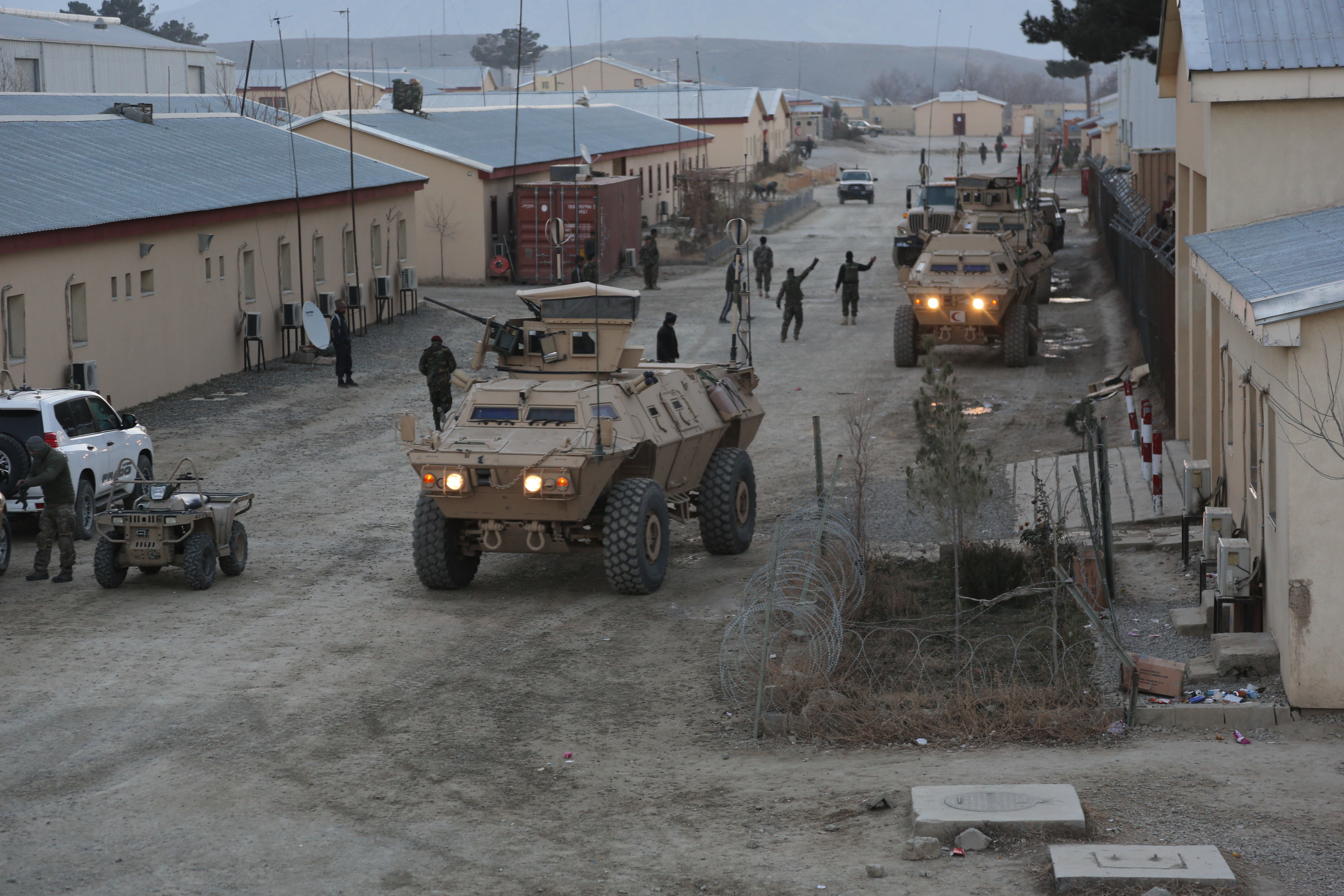 Afghan commandos of 1st Company, 6th Special Operations Kandak conduct movement to their target in Mobile Strike Force Vehicles for an operation in Kabul province, Afghanistan, on Dec. 24, 2013. (Spc. Connor Mendez/U.S. Army)
