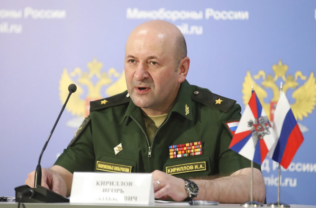 Maj. Gen. Igor Kirillov, the chief of the Russian military's radiation, chemical and biological protection unit, attends a briefing in Kubinka Patriot park outside Moscow on June 22, 2018. Russia said Friday that the U.S. and its allies have relied on fabricated evidence to accuse the Syrian government of launching chemical attacks against civilians. (AP)