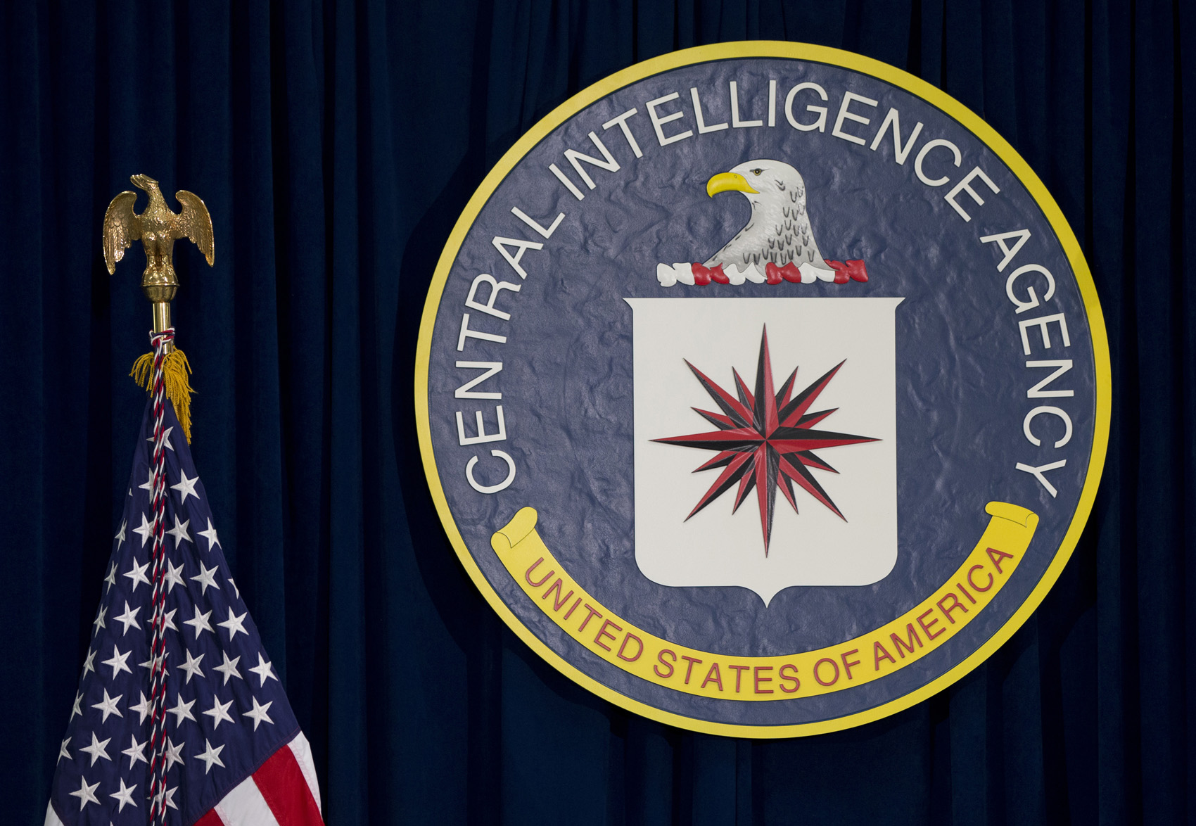 This April 13, 2016, file photo shows the seal of the Central Intelligence Agency at CIA headquarters in Langley, Va. (Carolyn Kaster/AP)