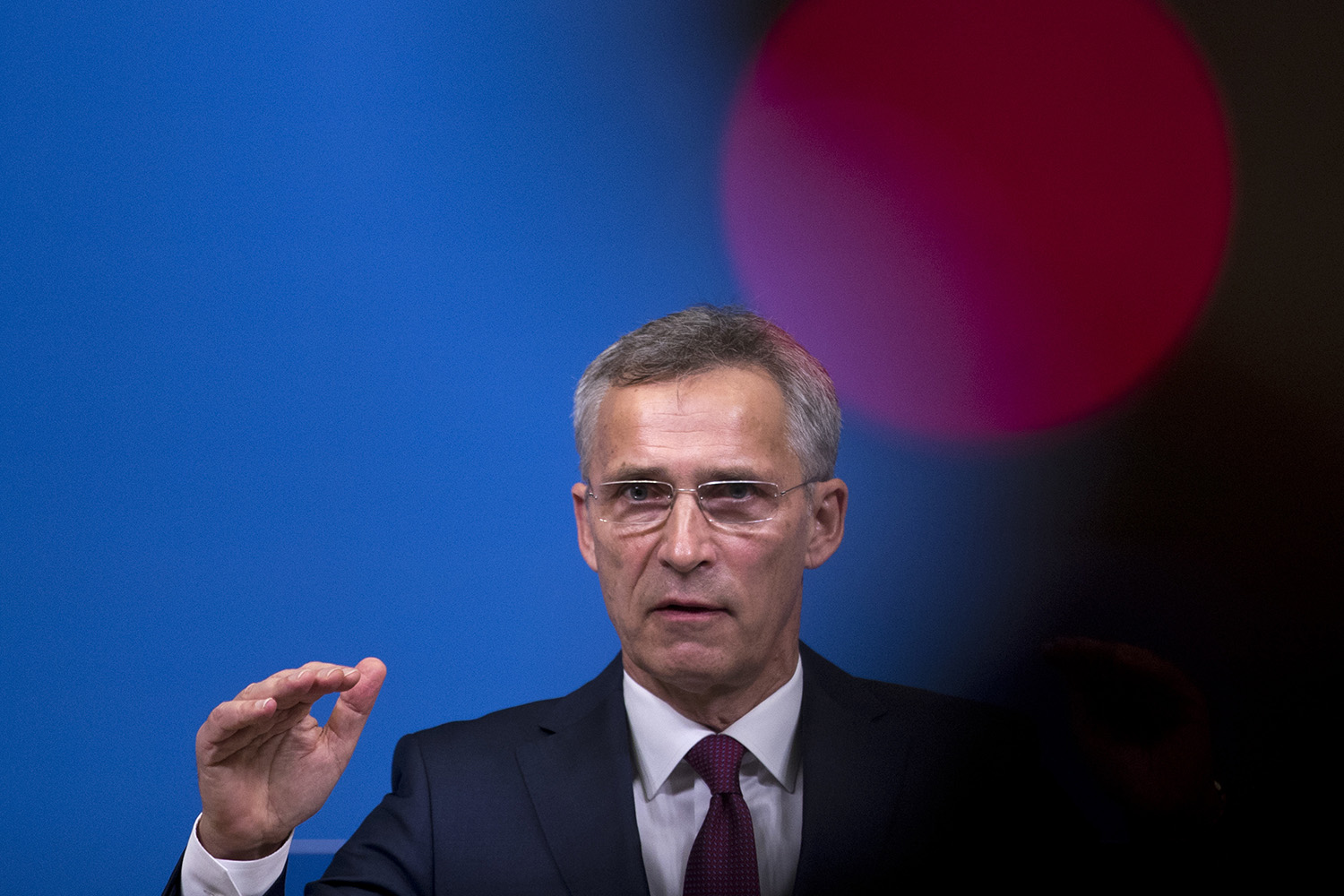 NATO Secretary General Jens Stoltenberg talks to journalists during a news conference at the NATO headquarters in Brussels, Wednesday, Oct. 24, 2018. Stoltenberg briefed reporters on alleged Russian breaches of the INF international missile agreement, and on the alliance's military exercises in Norway, its biggest since the Cold War. (Francisco Seco/AP)