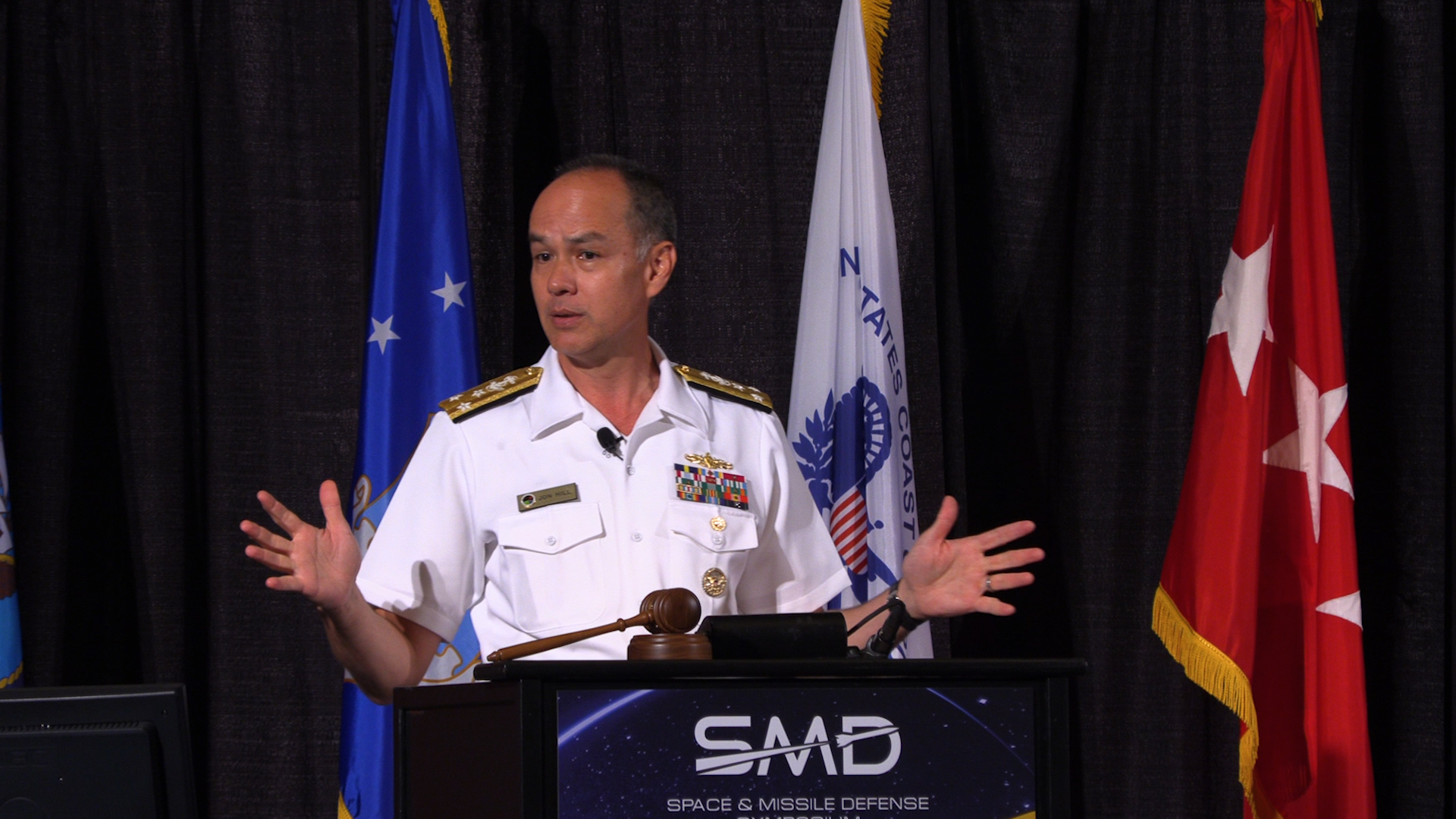 Vice Adm. Jon Hill, director of the Missile Defense Agency, speaks at the Space and Missile Defense Symposium in Huntsville, Ala., on Aug. 8, 2019. (Jeff Martin/Staff)