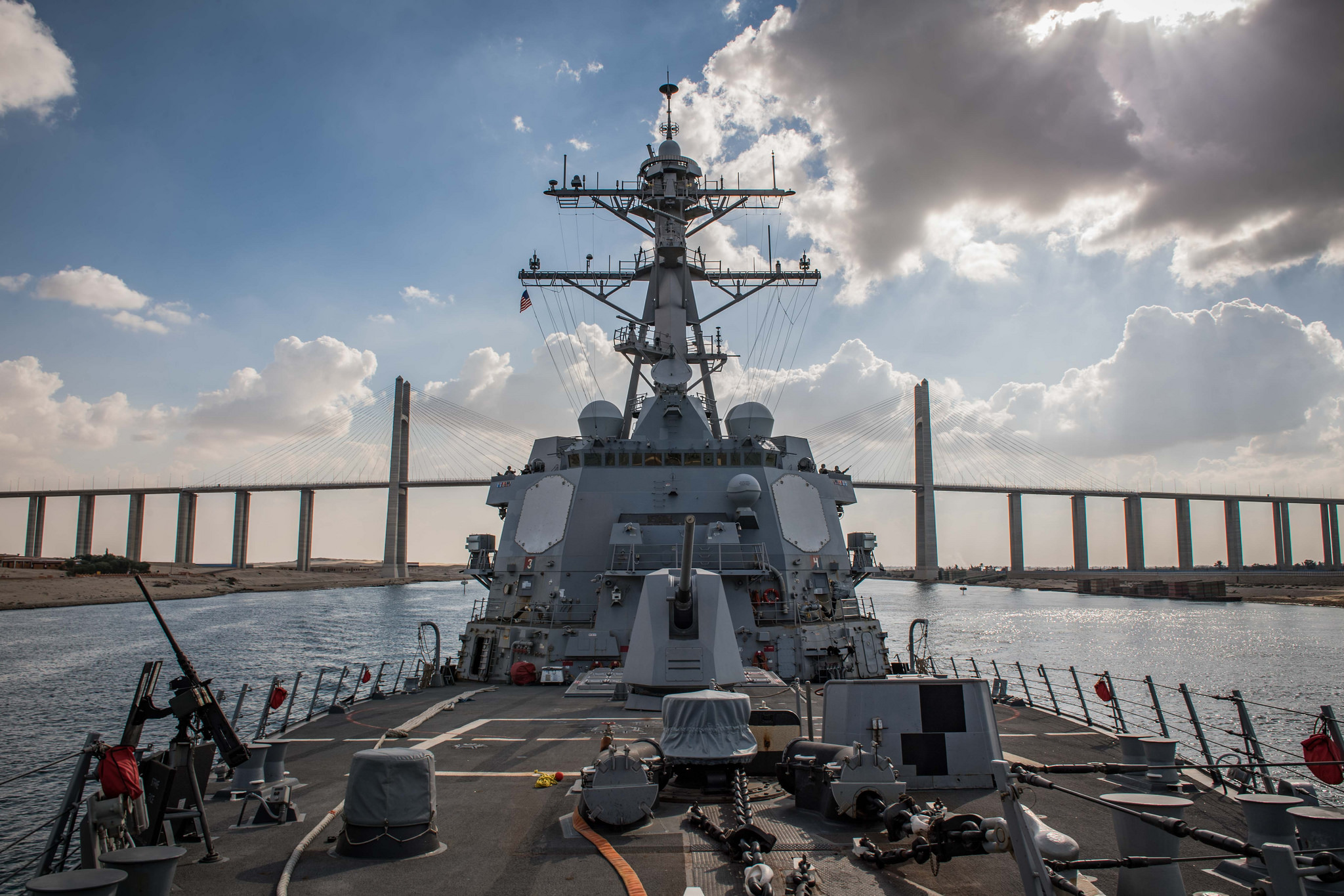 The Arleigh-Burke class guided-missile destroyer USS Jason Dunham (DDG 109) transits the Suez Canal on Dec. 1, 2018. (MC2 Jonathan Clay/Navy)