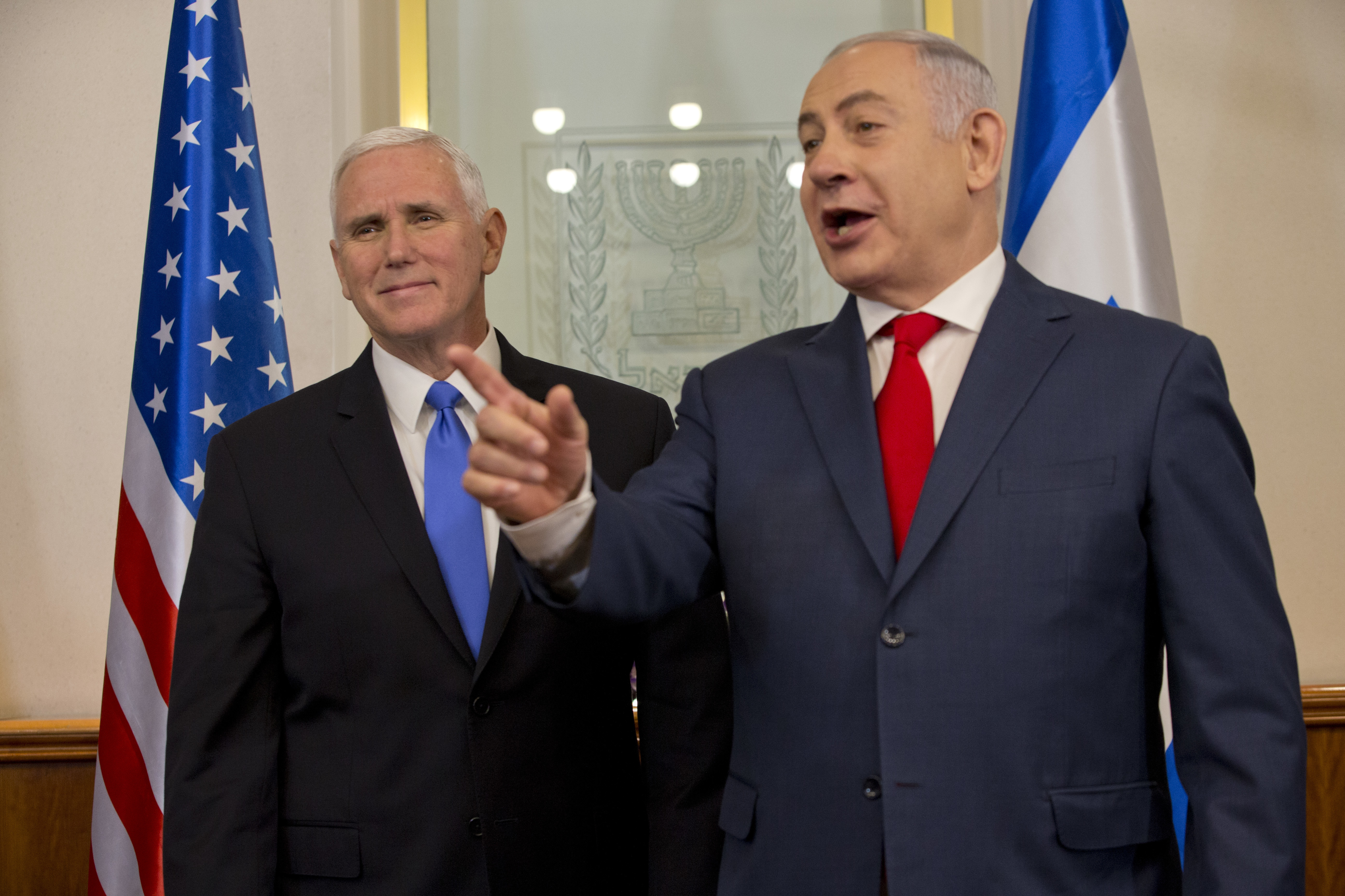 Vice President Mike Pence meets with Israel's Prime Minister Benjamin Netanyahu in Jerusalem, Monday, Jan. 22, 2018. (Ariel Schalit/AP)
