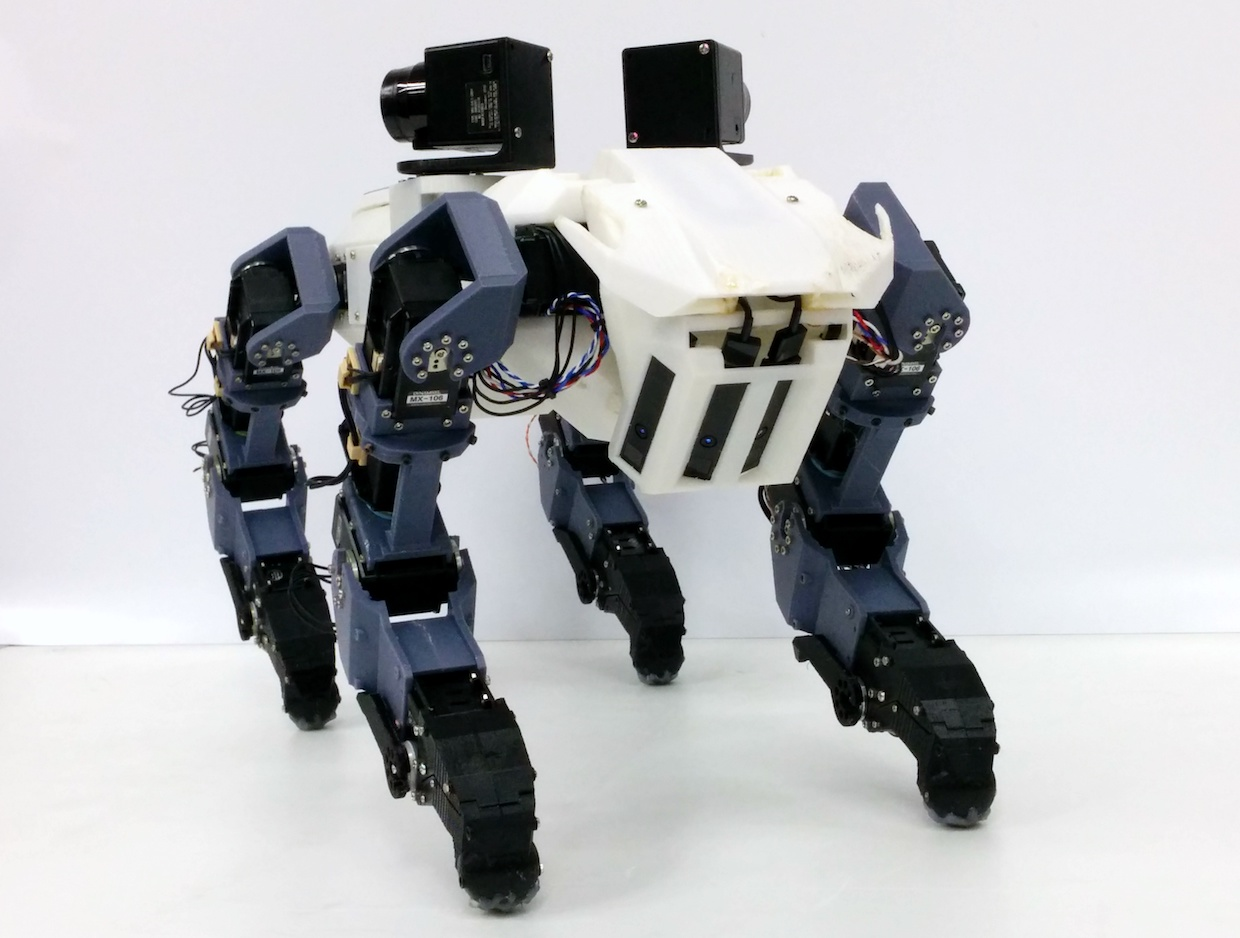 With legs that end in gripping hands, this robot