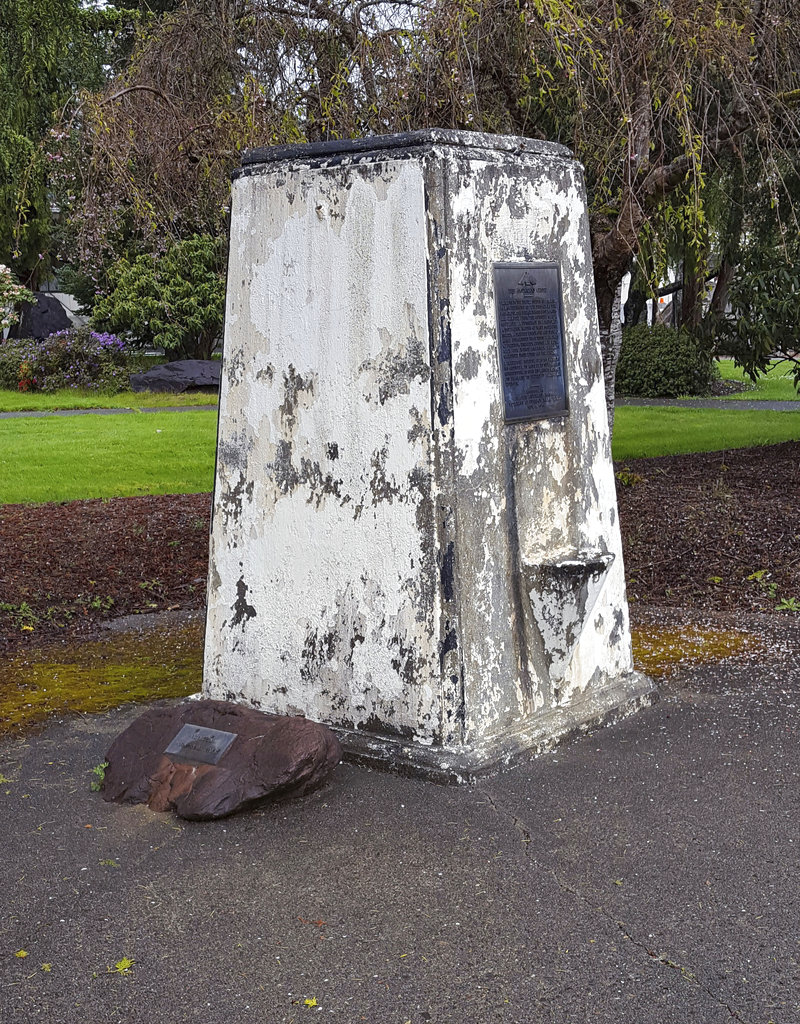 In this April 2017 photo provided by Gordon L. Aleshire, a World War I memorial pillar is shown in disrepair in Raymond, Wash.