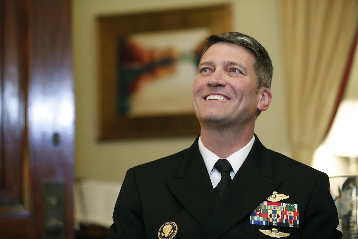 Navy Rear Adm. Ronny Jackson sits with Sen. Johnny Isakson, R-Ga., chairman of the Veteran's Affairs Committee, before their meeting on Capitol Hill on April 16, 2018. Jackson is scheduled to appear before the committee for a confirmation hearing on Wednesday. (Alex Brandon/AP)