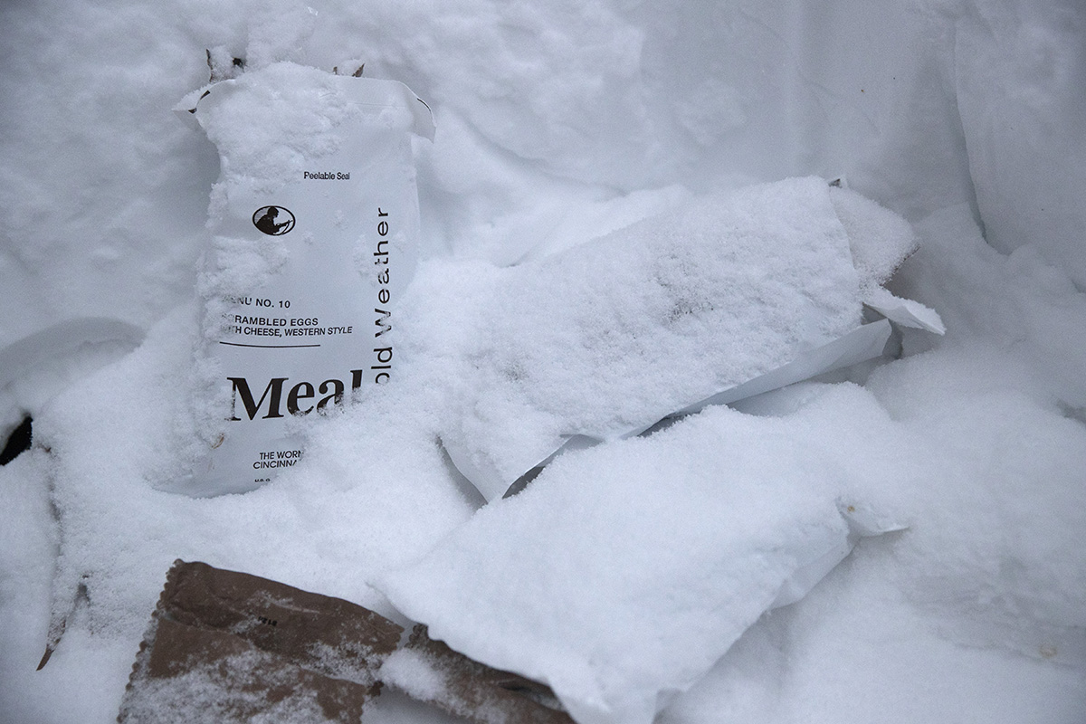 Empty MRE packages are covered in snow as U.S. Marines prepare for advanced cold-weather training at the Marine Corps Mountain Warfare Training Center Saturday, Feb. 9, 2019, in Bridgeport, Calif. After 17 years of war against Taliban and al-Qaida-linked insurgents, the military is shifting its focus to better prepare for great-power competition with Russia and China, and against unpredictable foes such as North Korea and Iran. (Jae C. Hong/AP)