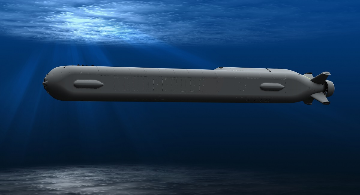 This artist rendering shows Ocra, a new large autonomous submarine. The aerospace giant Boeing has enlisted the help of Huntington Ingalls Industries to build it. (Boeing via AP)