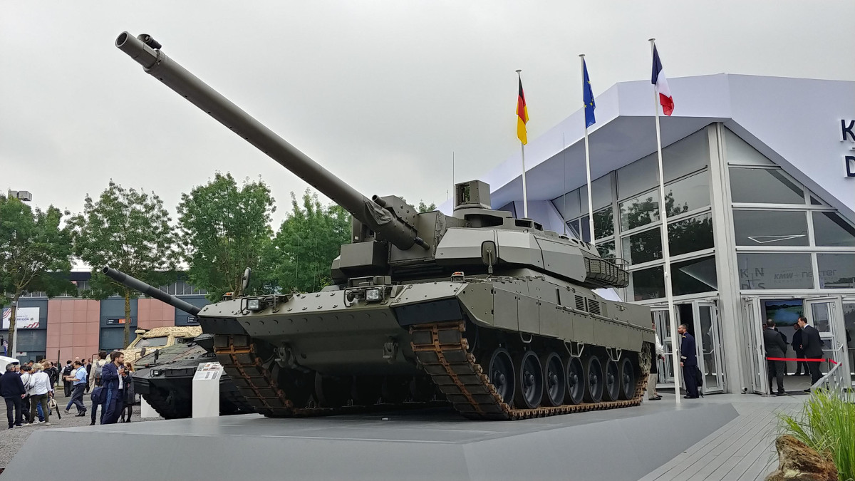 The Franco-German joint venture KNDS displayed its new European Main Battle Tank at the 2018 Eurosatory exhibit in Paris on June 11. (Jeff Martin/staff)