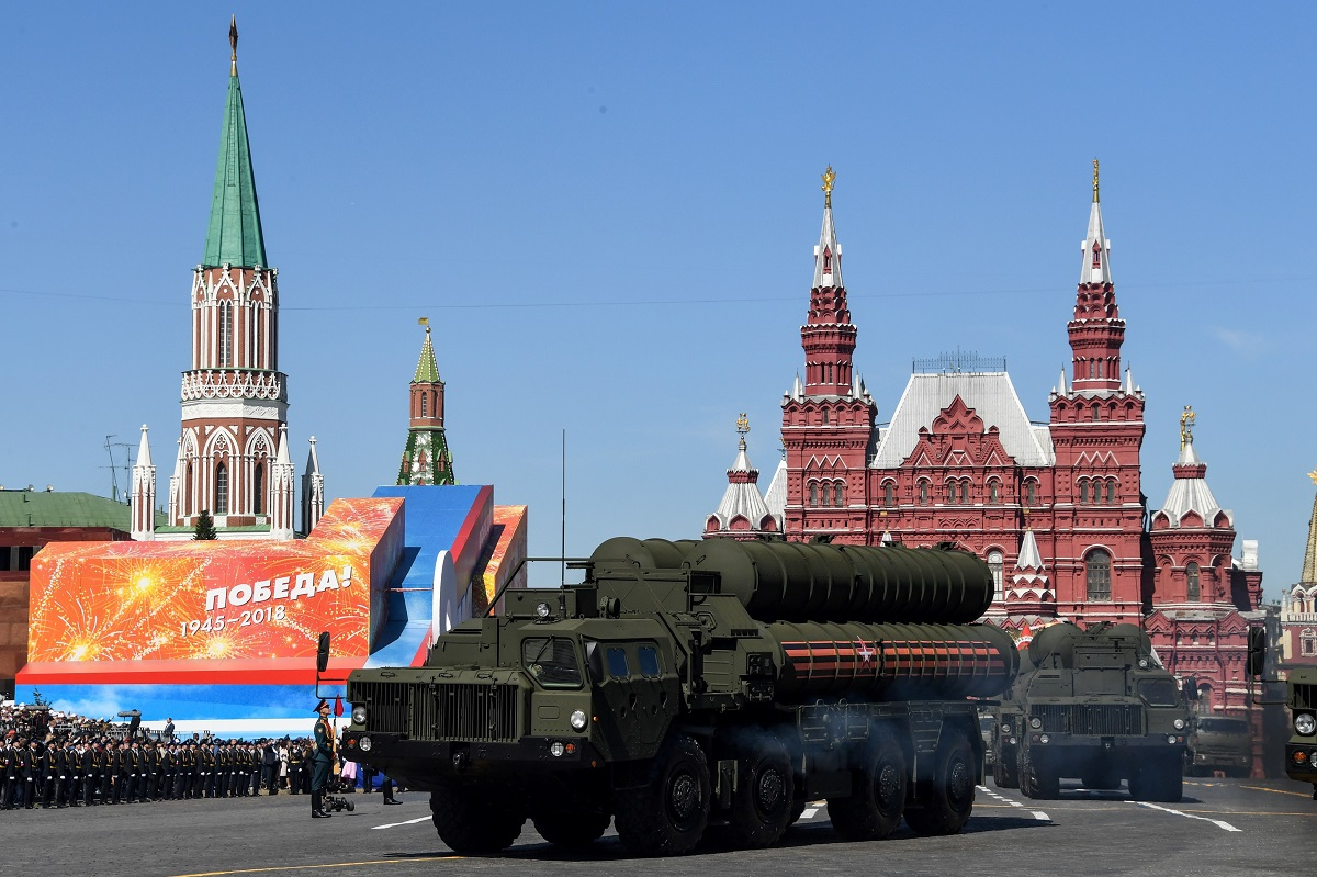 Russia's S-400 air-defense systems ride through Red Square during the Victory Day military parade in Moscow on May 9, 2018. (Kirill Kudryavtsev/AFP via Getty Images)