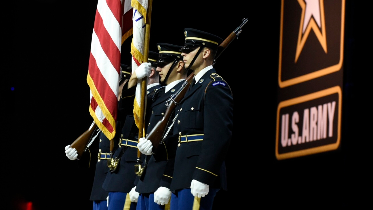 Soldiers from the Old Guard during the opening ceremony for the 2018 annual meeting and exposition in Washington, DC. (Stephen Barrett/Special to Defense News & Army Times)