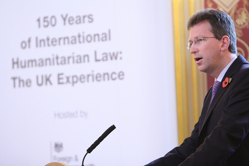 Wright speaks at an event on International Humanitarian Law in 2014. In his remarks on May 23, 2018, Wright connected rules for cyberspace to this international law tradition.
