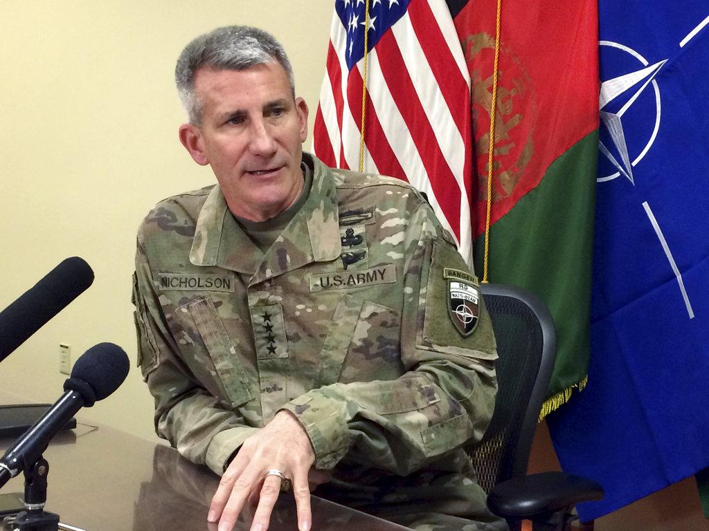 In this March 14, 2018, file photo, Gen. John Nicholson, the top American commander in Afghanistan, speaks to reporters at Bagram Air Base north of Kabul, Afghanistan. (Robert Burns/AP)