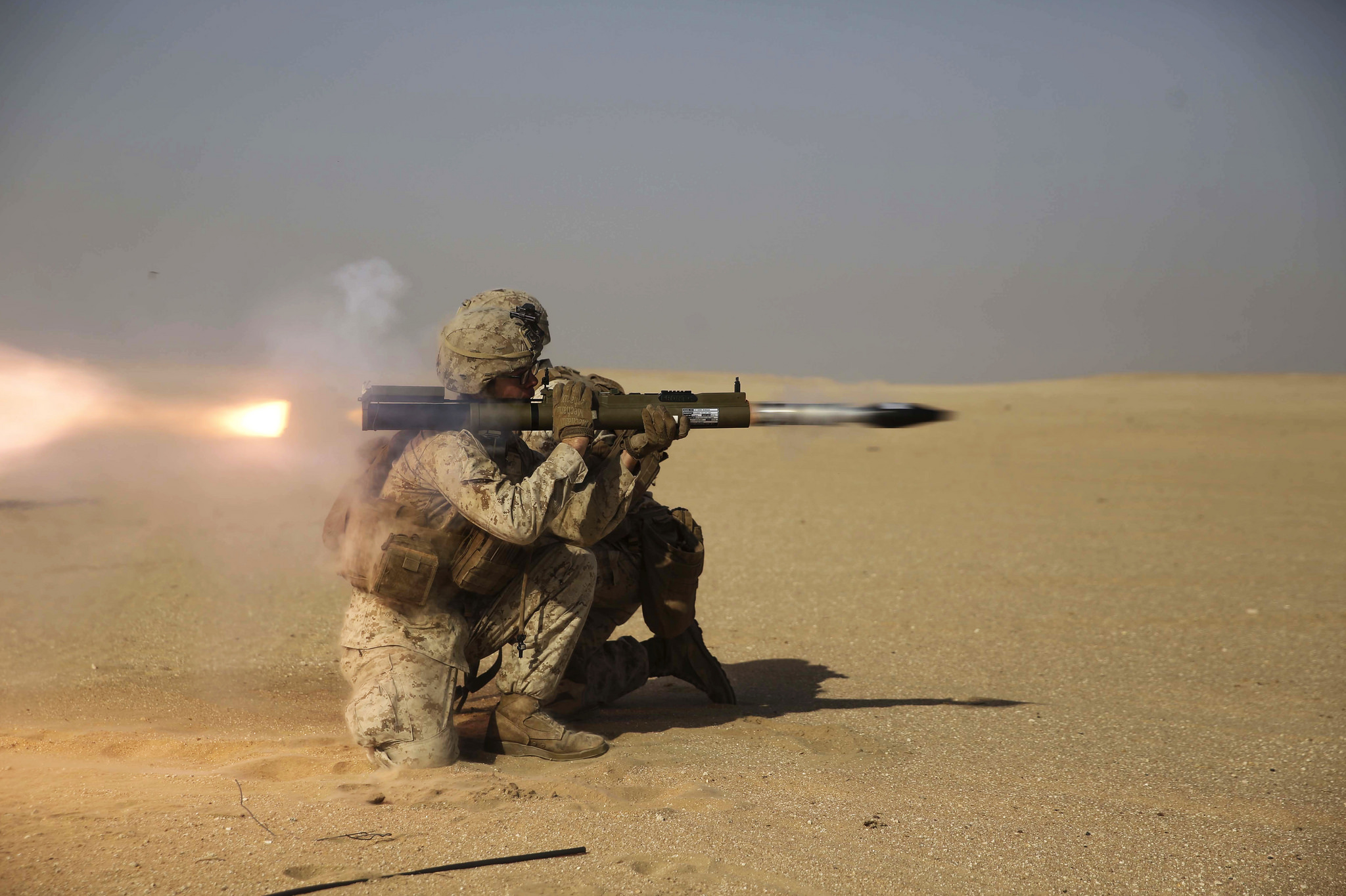 A Marine with Company A, 1st Battalion, 5th Marine Regiment the 15th Marine Expeditionary Unit's Ground Combat Element, fires an M72A7 rocket launcher Oct. 23, 2017, during a familiarization course at an undisclosed location. (Cpl. Timothy Valero/Marine Corps)