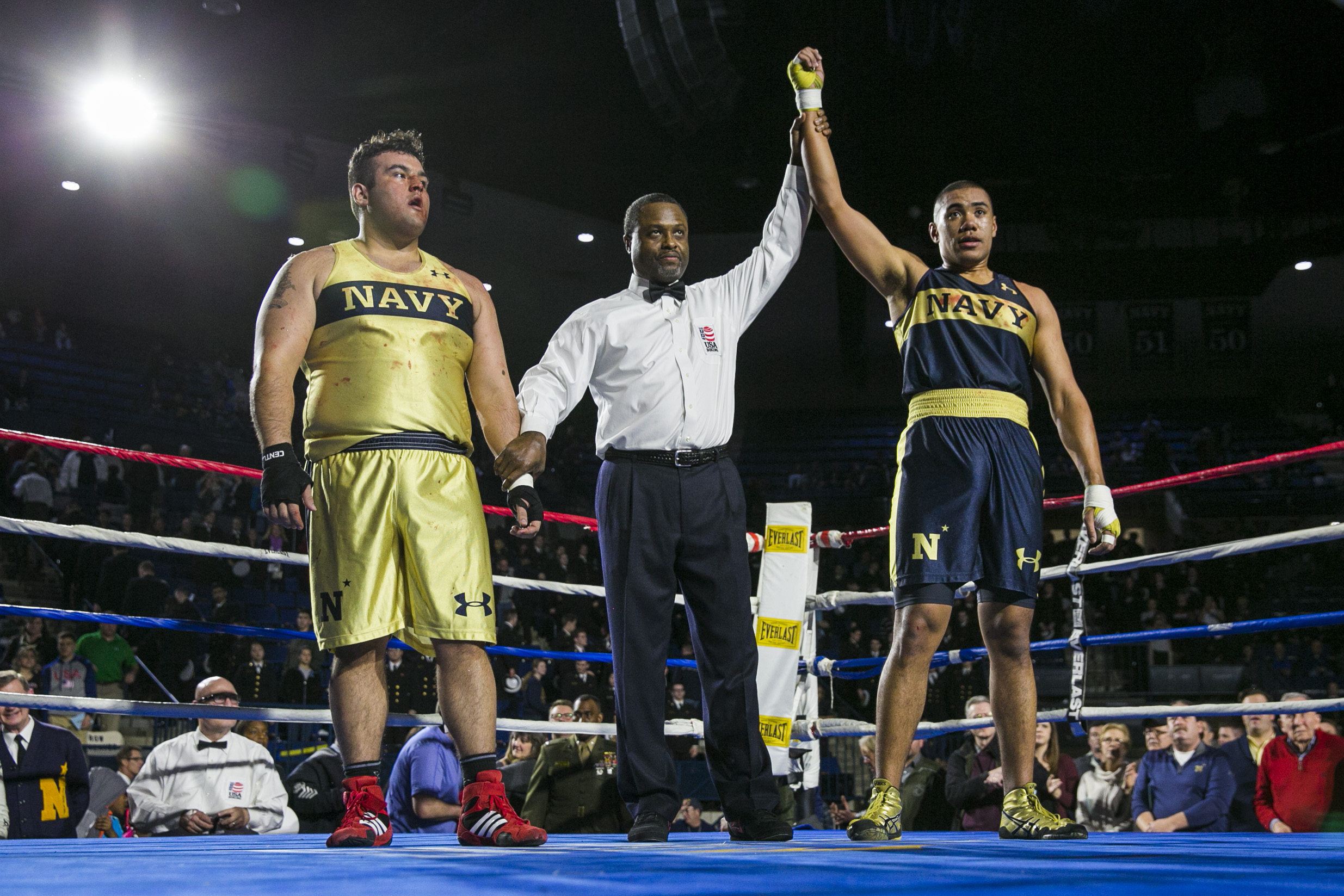 Charles Patterson, right, from Honolulu, HI defeats Joey Resendez, left, from El Paso, TX, in the Heavyweight fight during the United States Naval Academy's 77th Brigade Boxing Championships held on Feb. 23, 2018. (Alan Lessig/Staff)