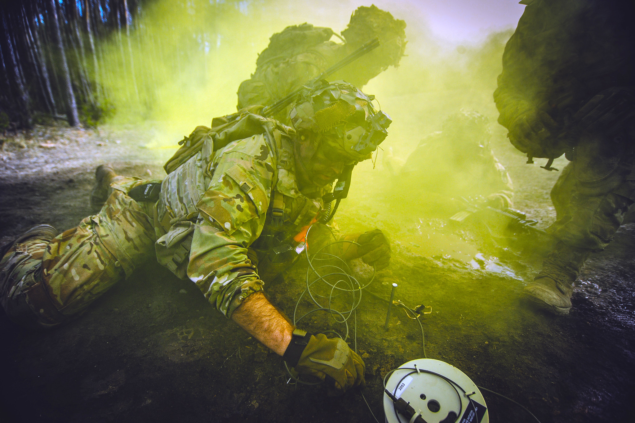 An Army paratrooper emplaces a braizer charge during Exercise Rock Spring 19 at Grafenwoehr Training Area, Germany, on March 6, 2019. (Army)