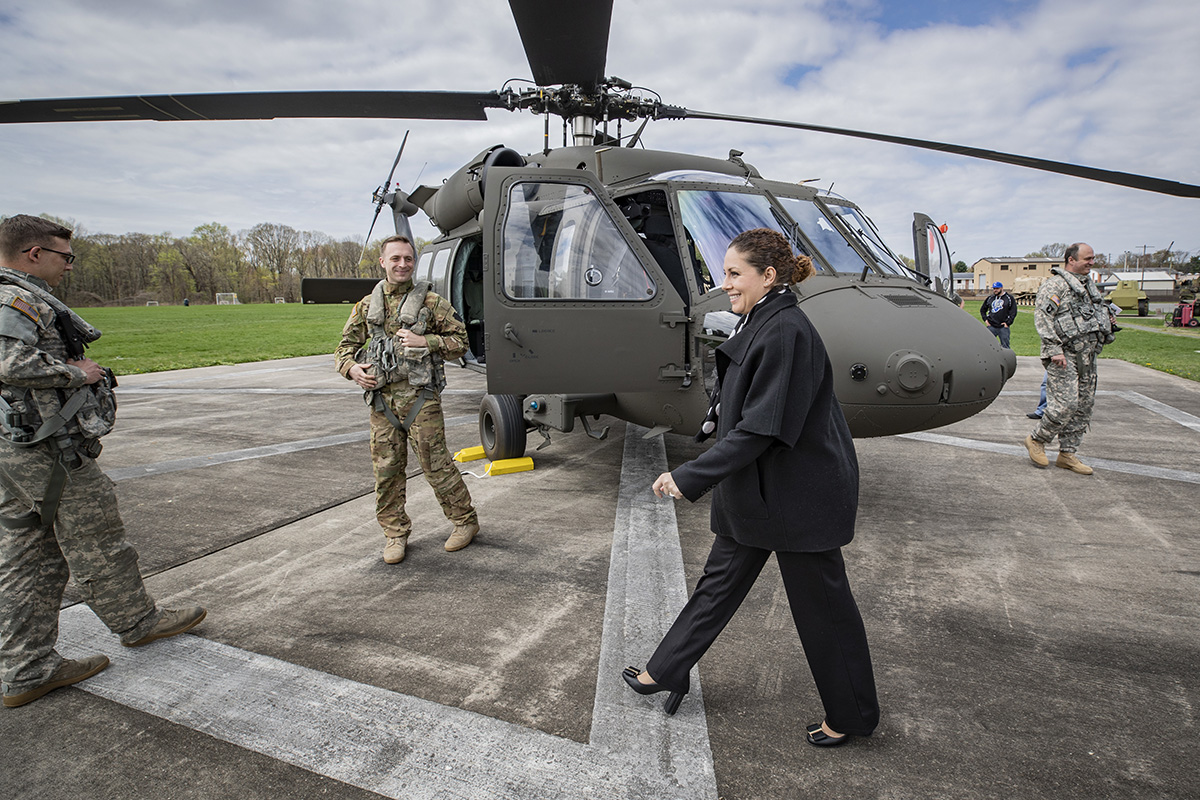 Olta Xhacka, Albanian minister of defense, prepares for a flight in a U.S. Army UH-60M Black Hawk helicopter at the New Jersey Department of Military and Veterans Affairs campus in Lawrenceville, N.J., April 17, 2019. (Master Sgt. Matt Hecht/Air National Guard)