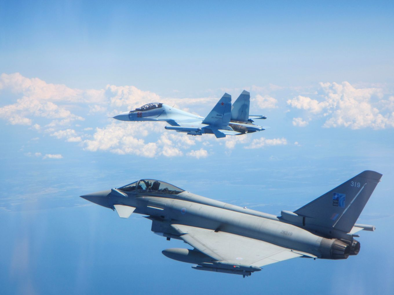 British Royal Air Force Typhoon fighter jets operating from Ämari Air Base in Estonia were scrambled June 15 to intercept two unknown contacts transiting north from Kaliningrad towards Estonian and Finnish airspace. The aircraft were intercepted and identified as a Russian Su-30 Flanker fighter and an Ilyushin IL-76 Candid transport aircraft. (British Ministry of Defence)