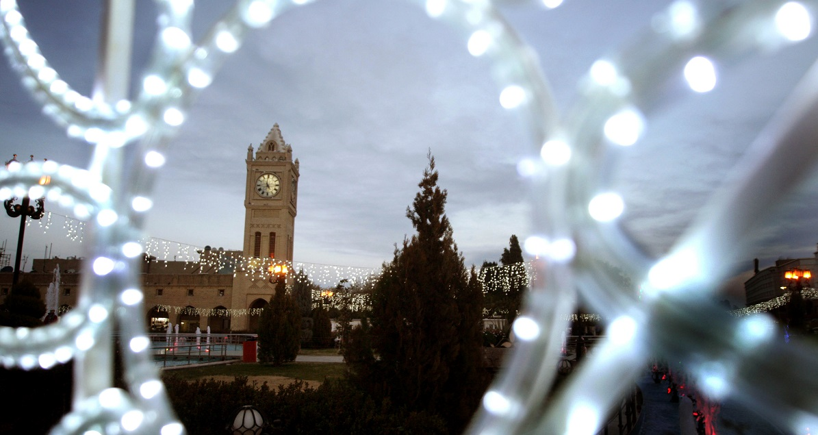 Decorations are displayed on the main square of the northern Iraqi city of Arbil, on December 29, 2013, two days ahead of the New Year's celebrations. (Safin Hamed/AFP/Getty Images)