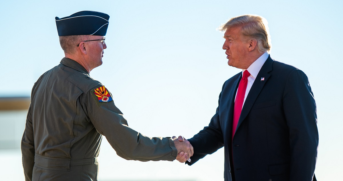Brig Gen. Todd Canterbury, 56th Fighter Wing commander at Luke Air Force Base, greets the president. (Senior Airman Alexander Cook/Air Force)