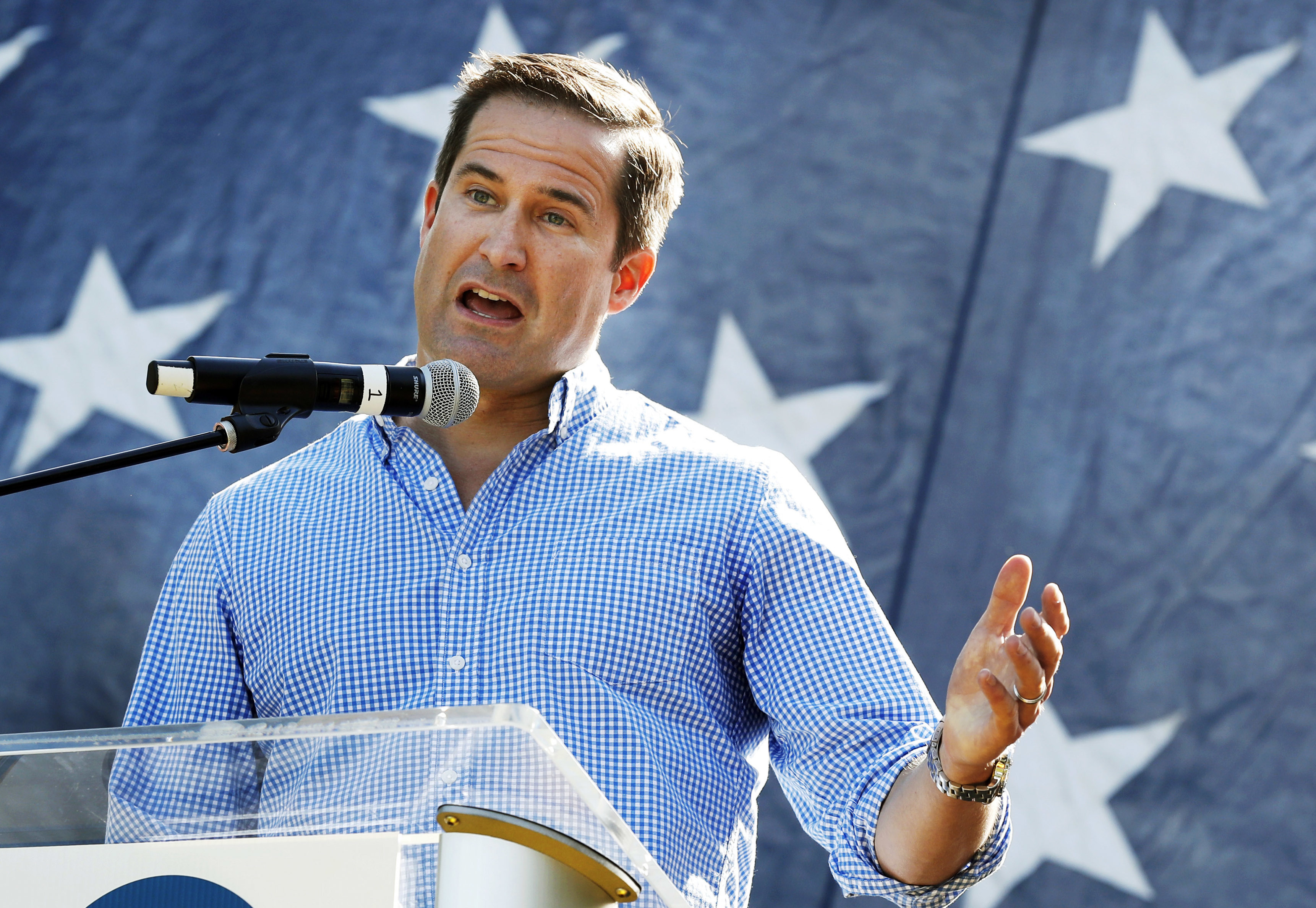 Rep. Seth Moulton, D-Mass., speaks during an Iowa event in September 2017. After serving four tours of duty in Iraq and ousting a sitting member of Congress in 2014, Moulton has become one of a handful of prominent veteran lawmakers in Congress. (Charlie Neibergall/AP)