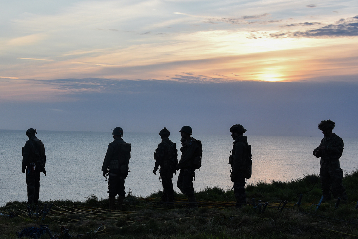 U.S. soldiers with 75th Ranger Regiment scale the cliffs like Rangers did during Operation Overload 75 years ago at Omaha Beach, Pointe du Hoc, Normandy, France, June 5, 2019. (Markus Rauchenberger/Army)