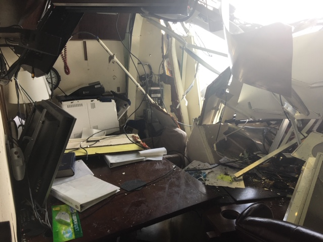 The damaged living quarters of the warship Fitzgerald's skipper, Cmdr. Bryce Benson, after a fatal collision in June 2017. (Photo provided to Navy Times)