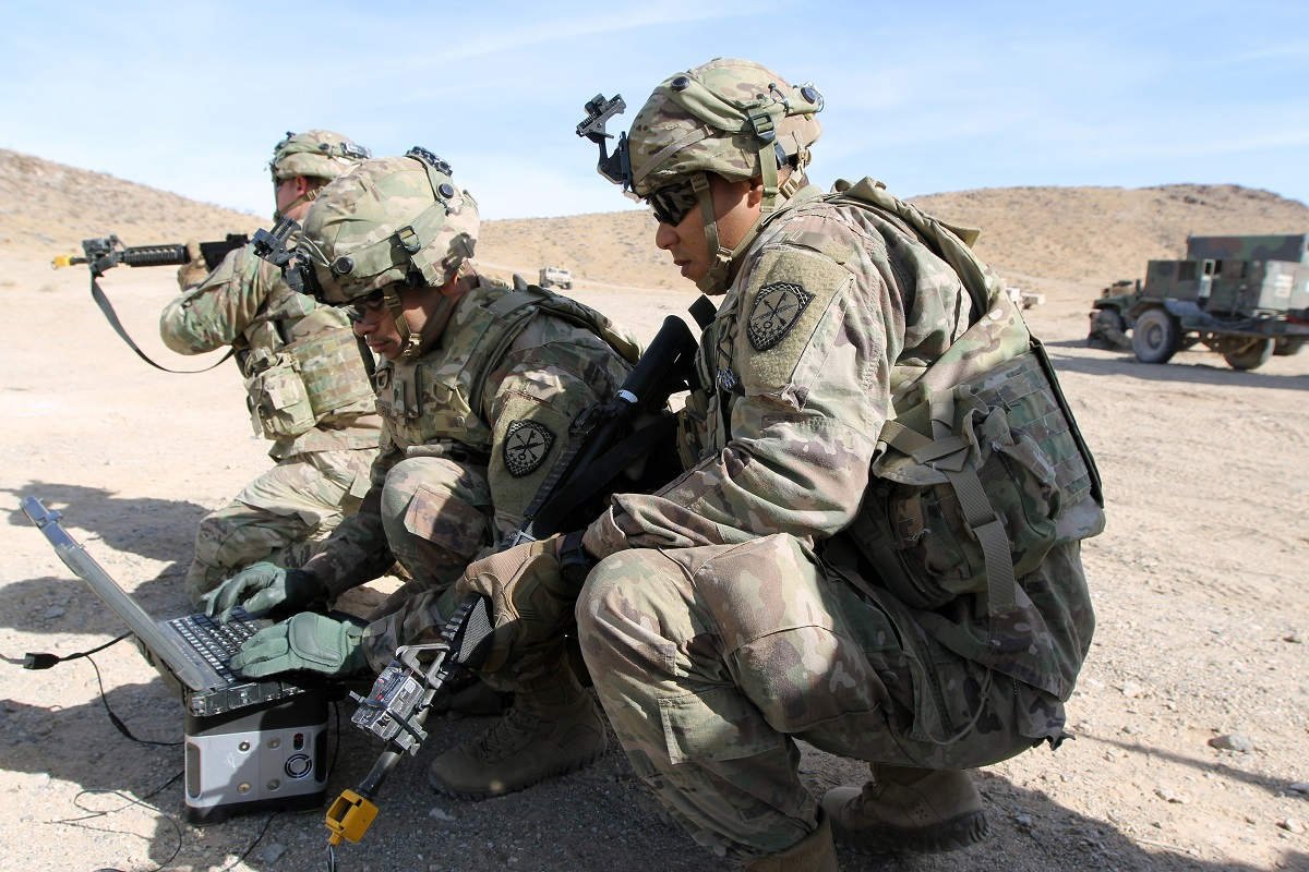 Soldiers with Cyber-Electromagnetic Activities Teams provide support to Brigade Combat Team commanders at the National Training Center in Fort Irwin, California. This tailored asset has been built to meet commander needs both in training and on deployment. (Steve Stover/Army)