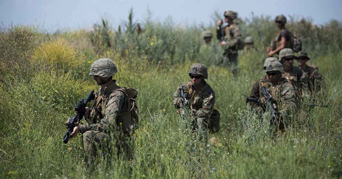 Marines assigned to Echo Company, 2nd Battalion, 25th Marine Regiment, participate in a mechanized company attack rehearsal at Shiroky Lan training center in Ukraine during exercise Sea Breeze 2018, July 13. Sea Breeze is a U.S. and Ukraine co-hosted multinational maritime exercise held in the Black Sea and is designed to enhance interoperability of participating nations and strengthen maritime security within the region. (MC1 Ryan Riley/Navy)