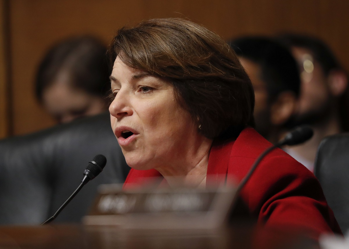 Committee member Sen. Amy Klobuchar, D-Minn., questions Acting Department of Homeland Security Secretary Kevin McAleenan at the Senate Judiciary Committee hearing on Capitol Hill in Washington, Tues., June 11, 2019. (Pablo Martinez Monsivais/AP)