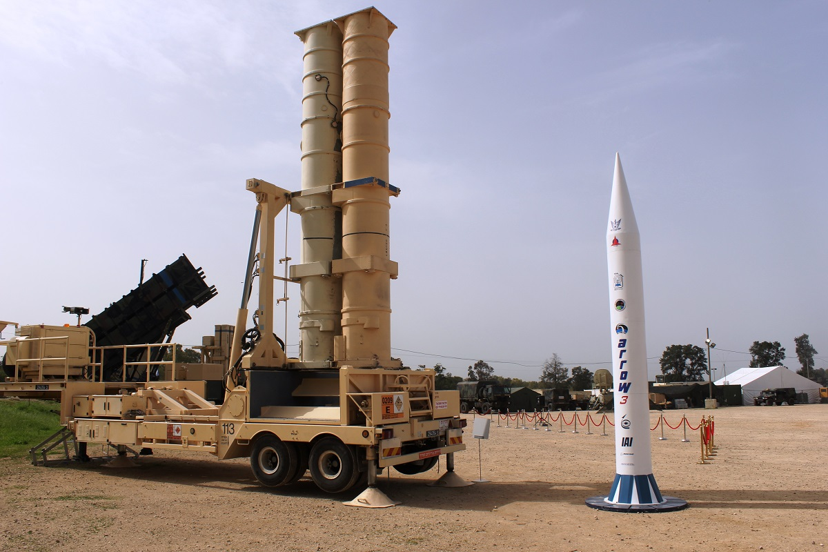 A Patriot battery and a model of an Arrow 3 ballistic missile are on display at Hatzor Airbase in Israel on March 3, 2018. (Ben Hartman/Contributor)