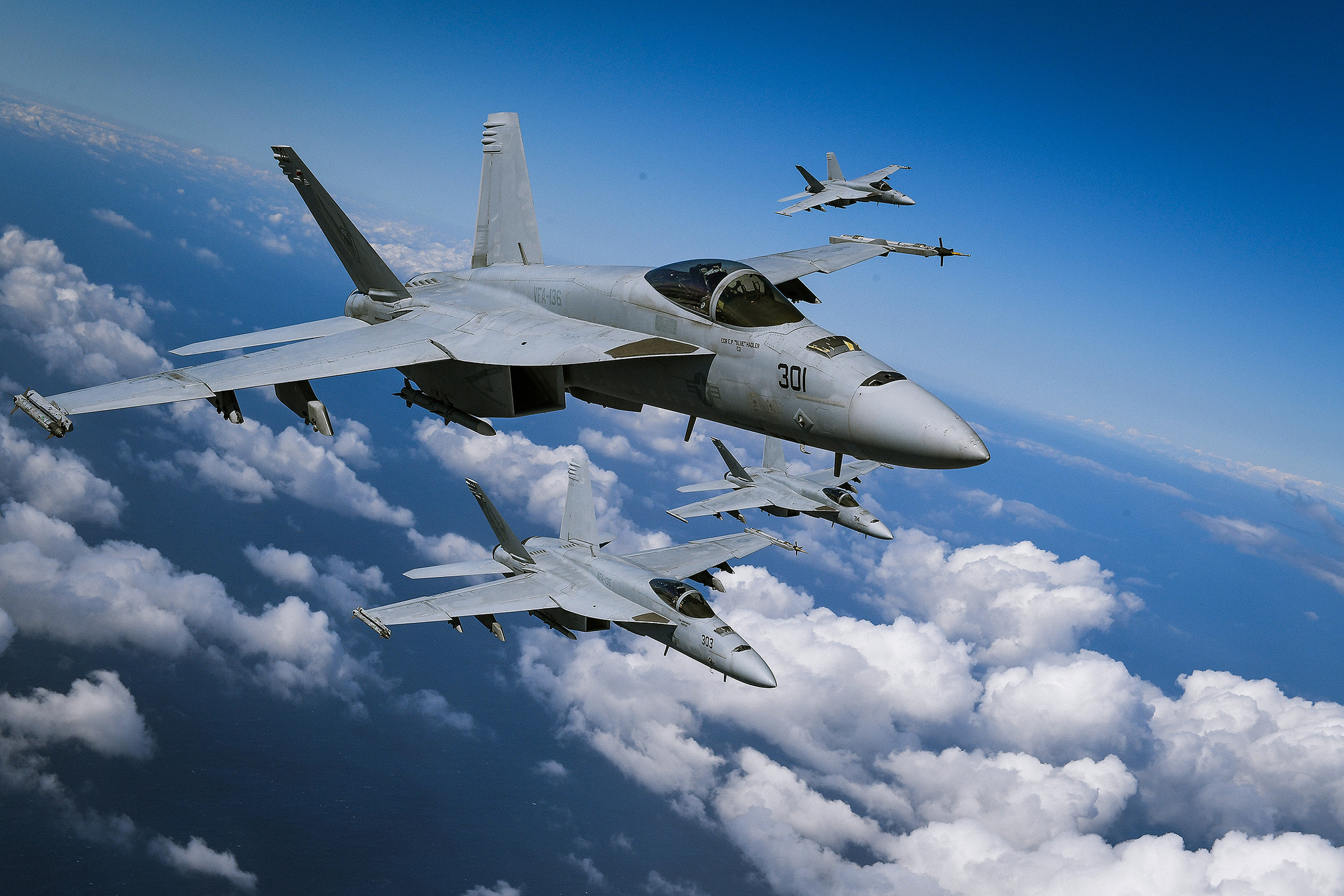 F/A-18E Super Hornets based at Naval Air Station Lemoore fly in formation during a photo exercise over California on March 12, 2019. (Chief Mass Communication Specialist Shannon Renfroe/Navy)