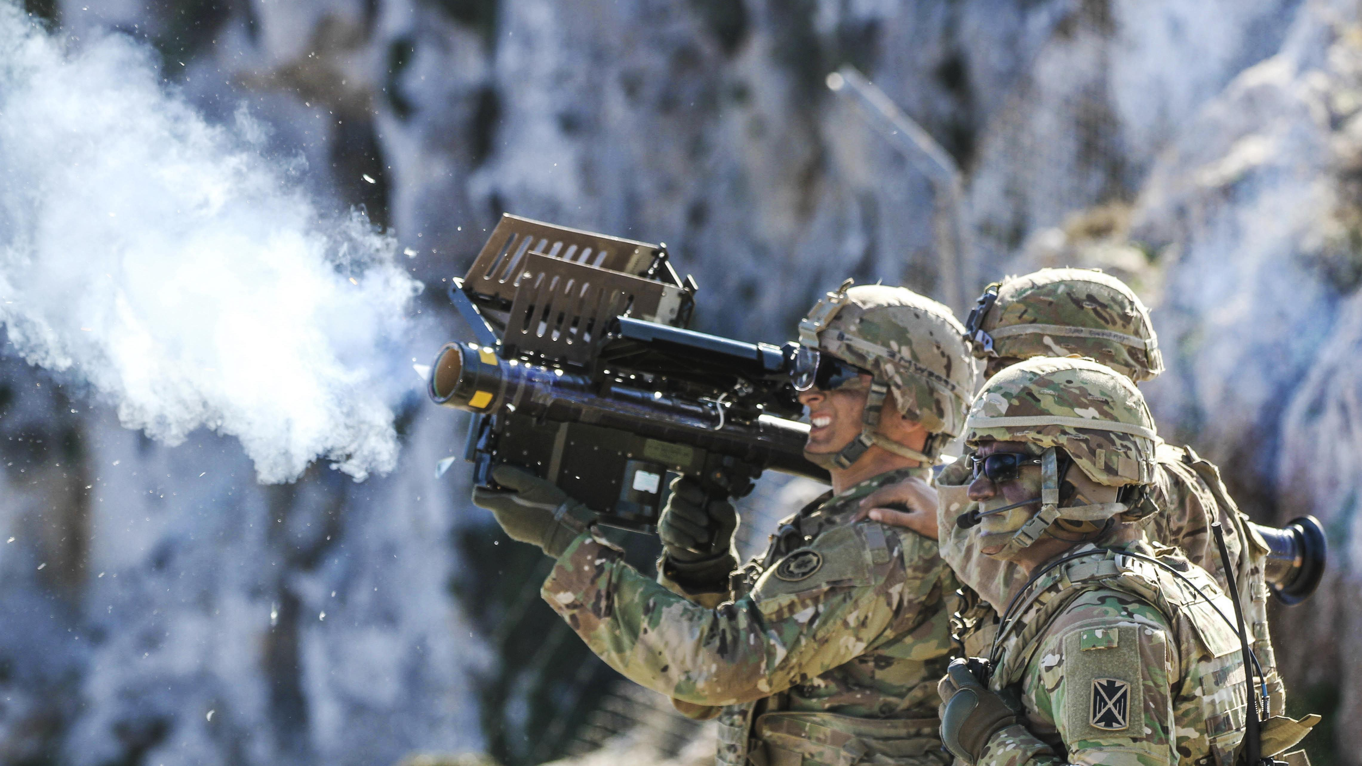 Army Spc. Matthew Williams, a cavalry scout assigned to 2nd Cavalry Regiment, fires a Stinger missile using Man-Portable Air Defense Systems during Artemis Strike, a live fire exercise at the NATO Missile Firing Installation at Crete, Greece. (Sgt. 1st Class Jason Epperson/Army)