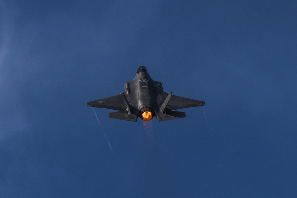 An F-35 Lightning II flies over as part of the Heritage Flight during Luke Days at Luke Air Force Base, Ariz., on March 18, 2018. (Staff Sgt. Tyler J. Bolken/U.S. Air Force)