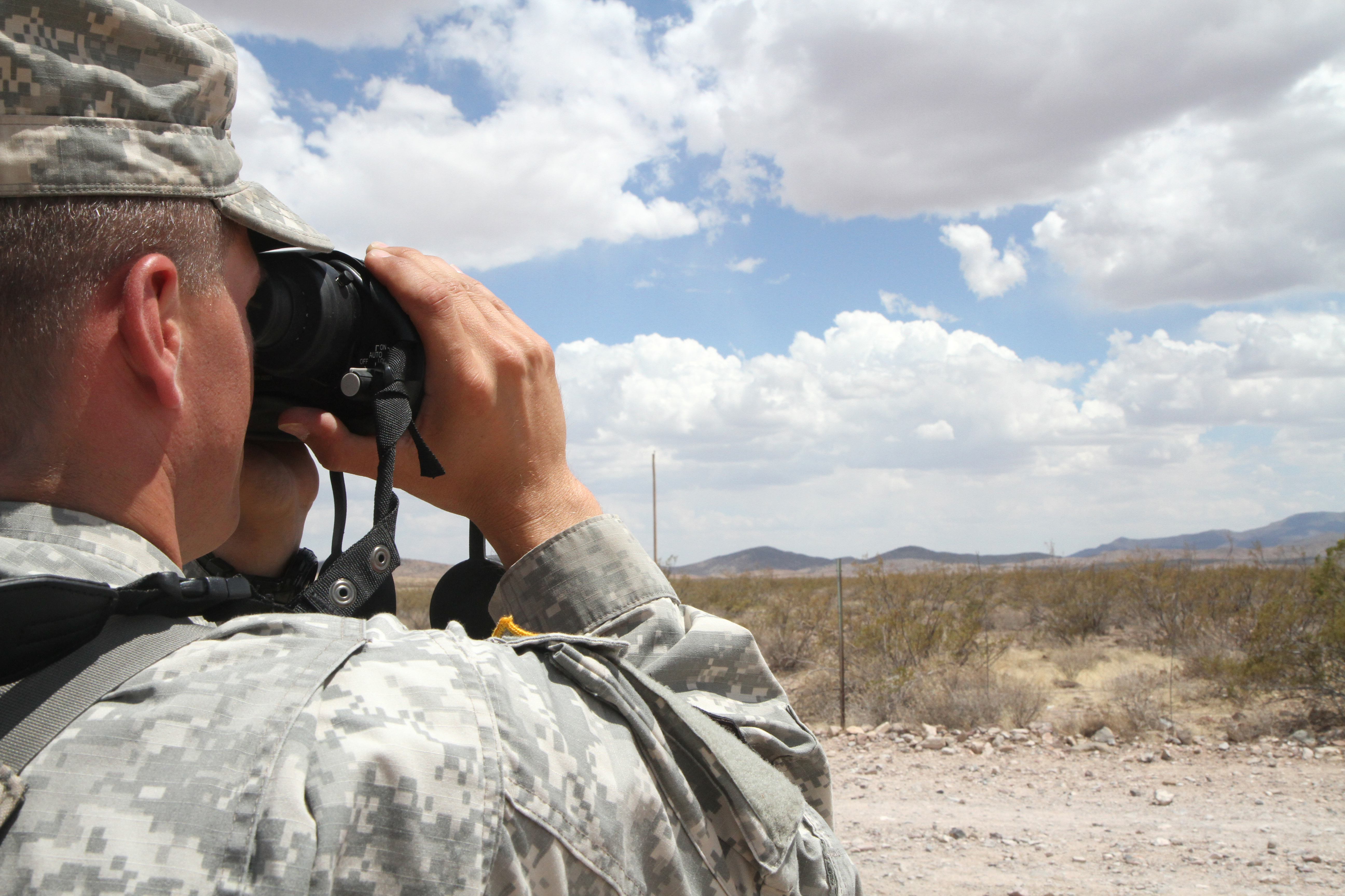 A District of Columbia National Guardsman monitors the U.S. border near Mexico in June 2014. On Thursday, President Donald Trump again suggested using U.S. servicemembers along the southern border to deal with immigration concerns. (Spc. Jennifer Amo/Army)