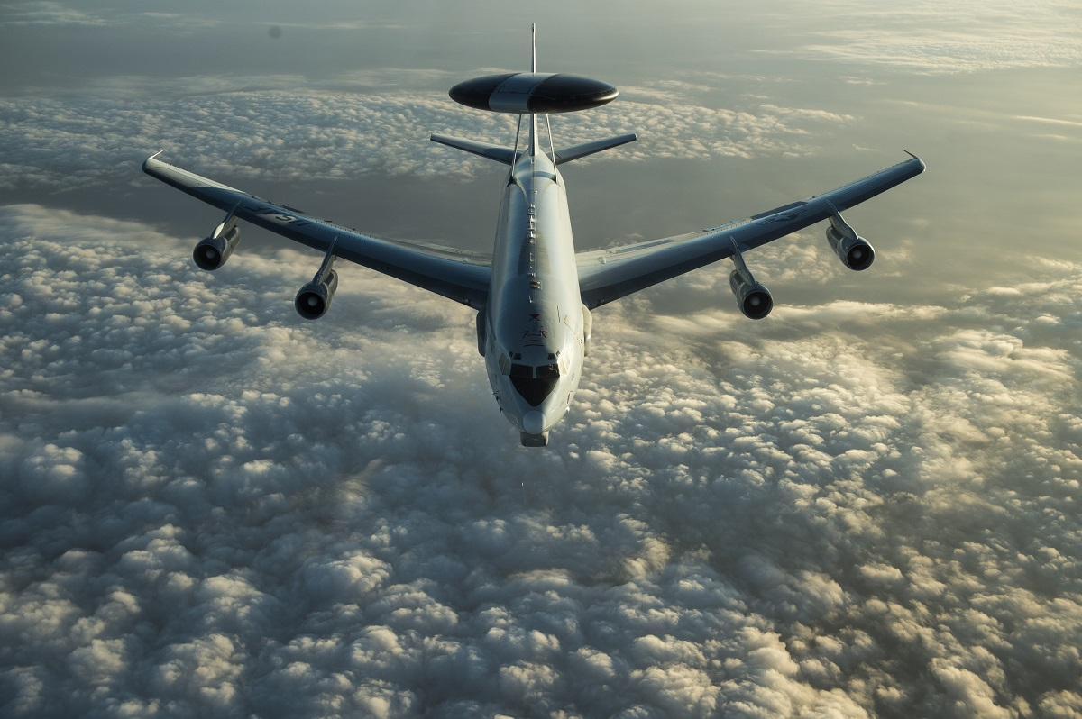 Instead of buying a new version of the JSTARS ground surveillance, command and control plane, the Air Force plans on investing in other assets like the E-3 Aircraft Warning and Control System (AWACS) shown here. (Tech. Sgt. Gregory Brook/U.S. Air Force)