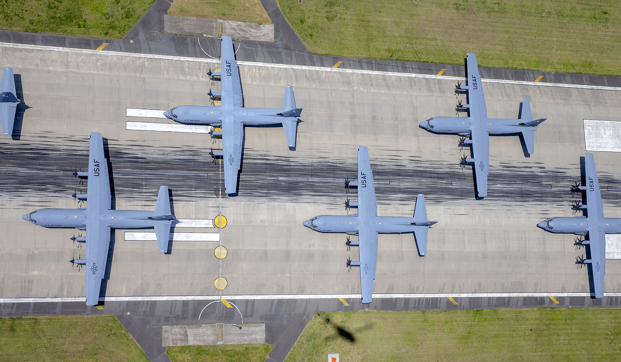 C-130J Super Hercules from the 36th Airlift Squadron prepare to take off during the 374th Airlift Wing Generation Exercise Elephant Walk at Yokota Air Base, Japan, May 4, 2018. The exercise was conducted in order to demonstrate the wing's ability to rapidly deploy forces across Indo-Pacific region. (Yasuo Osakabe/Air Force)
