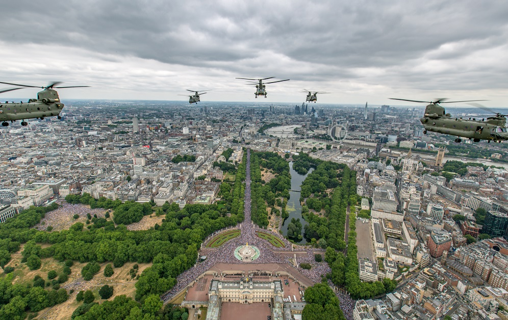 Royal Air Force Chinooks from RAF Odiham flew in the lead formation, along with Pumas from RAF Benson, for the celebrations in London. (British Ministry of Defence via Getty Images)